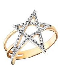 Kismet by Milka | Struck Doodle Star Diamond Ring | Lyst