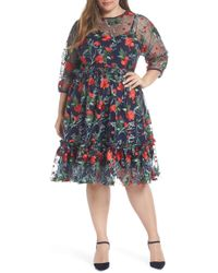 Nordstrom - 1901 Embroidered Mesh Fit & Flare Dress - Lyst
