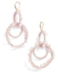 Rebecca Minkoff | Thread Wrapped Interlocking Hoop Earrings | Lyst