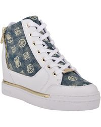 Guess Figz Logo Embossed Wedge Sneaker - Blue