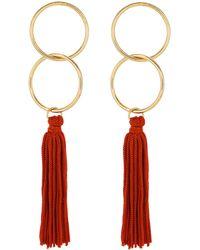 Panacea Circle Tassel Earrings - Red