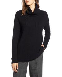Halogen Halogen Oversized Turtleneck Tunic Sweater - Black