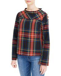 J.Crew - Jewel Button Funnel Neck Plaid Shirt - Lyst