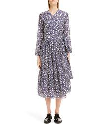 Sara Lanzi Snake Print Long Sleeve Midi Dress - Blue