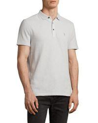AllSaints - Clash Regular Fit Cotton Polo Shirt - Lyst