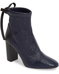 Stuart Weitzman Wolfe Leather Sock Bootie - Blue