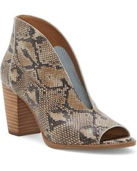 Lucky Brand Joal Snake Print Block Heel Booties - Brown