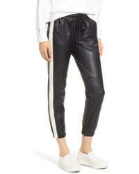 David Lerner - Side Stripe Faux Leather Jogger Pants - Lyst