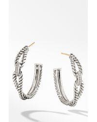 David Yurman - Cable Loop Hoop Earrings With Diamonds - Lyst