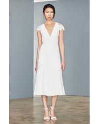 Amsale Lace Back Tea Length Dress - White