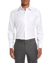 David Donahue Trim Fit Solid Dress Shirt - White