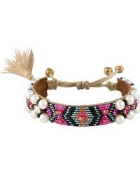 Deepa Gurnani Deep Gurnani Indigo Beaded Bracelet - Metallic