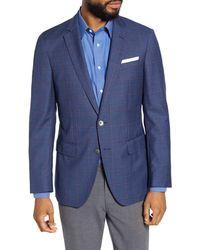 BOSS Hartlay Trim Fit Windowpane Wool Sport Coat - Blue