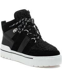 J/Slides Nell Faux Fur High Top Sneaker - Black