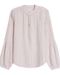 Treasure & Bond Pleat Sleeve Woven Top - Pink