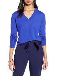 Halogen - Halogen V-neck Merino Wool Blend Sweater - Lyst
