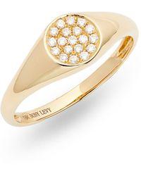 Bony Levy Kiera Classic Diamond Signet Ring (nordstrom Exclusive) - Metallic