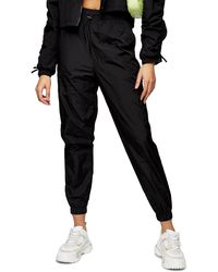 TOPSHOP Black Nylon Sweatpants