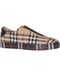 Burberry Contrast Check And Leather Slip-on Sneakers - Multicolour