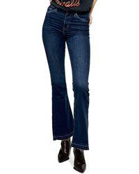 TOPSHOP Jamie Split Hem Flare Leg Jeans - Blue