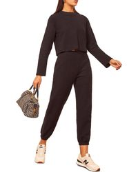 Reformation Rikki Ribbed Pullover & Pants - Black