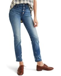 Madewell Distressed Button Front High Waist Slim Straight Jeans - Blue