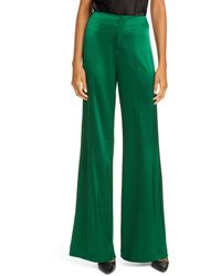 Alice + Olivia Dylan High Waist Wide Leg Satin Pants - Green