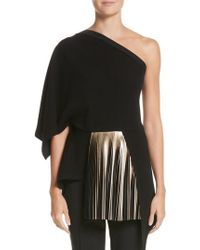 Yigal Azrouël - One-shoulder Pleated Crepe Top - Lyst
