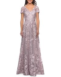 La Femme Embroidered Lace V-neck Cap-sleeve A-line Gown - Multicolor
