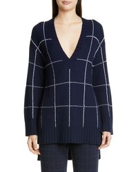 St. John - Windowpane Tunic Sweater - Lyst