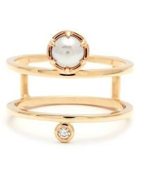 Anna Sheffield - 'reverse Attelage' Double Band Pearl & Diamond Ring - Lyst