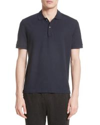 ATM - Stitched Collar Cotton Pique Polo - Lyst