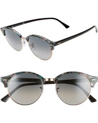 352205f007a Lyst - Ray-Ban  clubround  Acetate Browline Metal Mirror Sunglasses ...