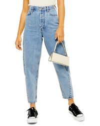 TOPSHOP Ovoid Crop Moto Jeans - Blue