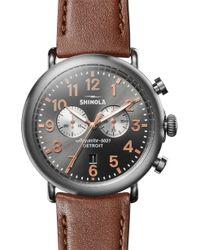 Shinola The Runwell Chrono Leather Strap Watch - Gray