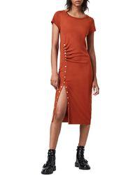 AllSaints - Hatti Midi T-shirt Dress - Lyst