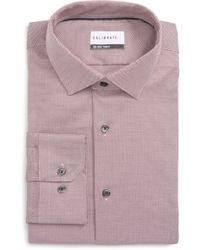 Calibrate Trim Fit Stretch No-iron Solid Dress Shirt - Multicolour