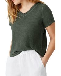Eileen Fisher V-neck Organic Cotton T-shirt - Green
