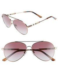 Burberry - 57mm Mirrored Aviator Sunglasses - Violet Gradient - Lyst