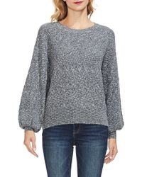 Vince Camuto - Textured Balloon Sleeve Cotton Blend Sweater - Lyst