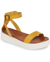 MIA Lunna Platform Ankle Strap Sandal - Yellow