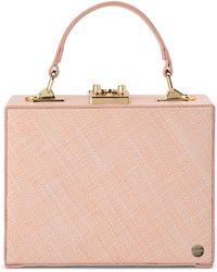 OLGA BERG Georgia Straw Woven Clutch - Pink