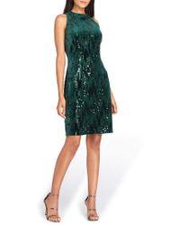 Tahari - Sequin Velvet Sheath Dress - Lyst