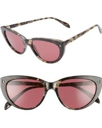 4d981bf2d5aac Alexander McQueen - 55mm Cat Eye Sunglasses - Dark Havana Gradient  Violet  - Lyst