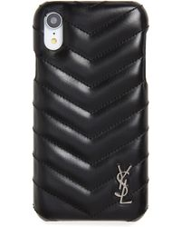 Saint Laurent - Quilted Leather Iphone Xr Case - Lyst