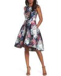 Eliza J Floral Jacquard Fit & Flare Dress - Blue