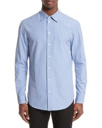 Armani Armani Collezioni Micro Check Sport Shirt - Blue
