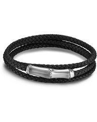 John Hardy Men's Bamboo Motif Leather Wrap Bracelet - Metallic