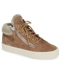Giuseppe Zanotti - Giuseppe May London Mid-rise Lace-up Genuine Shearling Sneaker - Lyst