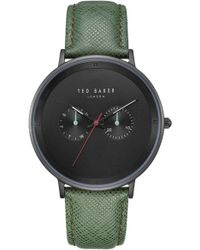 Ted Baker - Brad Multifunction Leather Strap Watch - Lyst